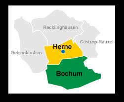 Hotel Karte Herne Bochum und Umgebung